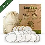 Waschbare Abschminkpads  16 Abschminktücher aus Bambus & Baumwolle mit Wäschebeutel   Umweltfreundlich   Wattepads wiederverwendbar   Gesichtsreinigung   Zero Waste   Bambaw