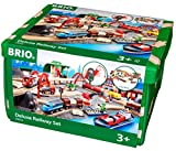 BRIO World 33052 Straßen und Schienen Bahn Set Deluxe – Schienenset für die BRIO Eisenbahn mit Spielmatte – Kleinkindspielzeug empfohlen ab 3 Jahren