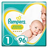 Pampers Premium Protection New Baby, Gr. 1, 2-5 kg, Halbmonatsbox, 1er Pack (1 x 96 Stück)