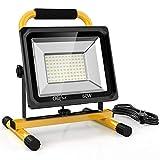 Olafus 60W 6000LM LED Baustrahler, 2 Helligkeitsmodi IP65 Wasserdicht LED Arbeitsleuchte Bauscheinwerfer, 5000K Tageslichtweiß Arbeitsscheinwerfer Strahler Fluter für Werkstatt, Baustelle, Garage