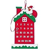 U/K HochwertigNon-Woven-Adventskalender zum Aufhängen von Weihnachten 24 Tage Countdown für Weihnachtsdekorationen Langlebig und praktisch