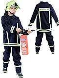 Foxxeo Feuerwehr Kostüm für Kinder – Verschiedene Größen von 92 bis 134 - Feuerwehrmann Kostüm für Jungen Fasching Karneval, Größe 104-110