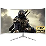 LYRONG 81.28 cm (32 Zoll) Curved Monitor, 1800R VA LED Monitor, Business Monitor (Full HD 1920x1080 IPS, 75Hz, Eye-Care, HDMI/VGA, 1ms Reaktionszeit),White