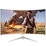 LYRONG 68.58 cm (27 Zoll) Curved Monitor, 1800R VA LED Monitor, Business Monitor (Full HD 1920x1080 IPS, 165Hz, Eye-Care, HDM/DP/USB, 1ms Reaktionszeit),White