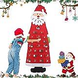 WELLXUNK Filz-Adventskalender Santa, Weihnachtsmann Adventskalender, DIY Filz Weihnachten Santa, Weihnachtsmann Kalender mit 24-Tage-Taschen, Adventskalender zum Befüllen Kinder, Weihnachtsschmuck