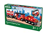 BRIO World 33844 Feuerwehr-Löschzug – Feuerwehrzug mit Feuerwehrschlauch und Wassertank – Kleinkindspielzeug empfohlen ab 3 Jahren