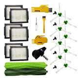 Zubehör-Kit für iRobot Roomba i7 + E5 E6 E7 Roboter-Staubsauger Ersatzteile 1 Satz Gummibürsten, 6 Hepa-Filter, 8 Seitenbürsten, 5 Schrauben, 1 Vorderrad, 2 Reinigungswerkzeuge
