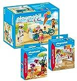 Playmobil 3er Set: 9426 Eisverkäufer mit Fahrrad-Eiswagen + 9085 Kids mit Sandburg + 70251 Slush-Eisverkäufer