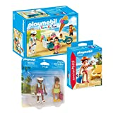 PLAYMOBIL Ferienspaß beim Strandurlaub - Set 3-teilig: 9426 Eisverkäufer + 70300 Urlauberin + 70274 Duo-Pack Urlauberpaar
