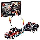 LEGO 42106 Technic Stunt-Show mit Truck und Motorrad Spielset, 2-in-1 Modell mit Rückziehmotor und Anhänger