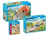 Playmobil Camping und Freizeit 3-teiliges Set: 70089 Familien-Camping + 70092 Mama mit Kindern beim Minigolf + 70251 Slush-Eisverkäufer