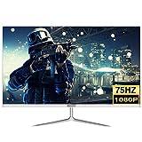 LYRONG 55.88 cm (22 Zoll) LED Monitor, Business Monitor (Full HD 1920x1080 IPS, 75Hz Gaming Monitor, Eye-Care, neigbar, HDMI, VGA, 1ms Reaktionszeit),White
