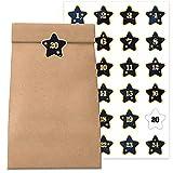 Adventskalender zum Befüllen und selber Basteln 2021 - individueller Weihnachtskalender mit 24 Papier-Tüten & Sticker   Sticker-Design: Stern