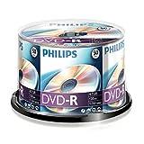 Philips DVD-R Rohlinge (4.7 GB Data/ 120 Minuten Video, 16x High Speed Aufnahme, 50er Spindel)