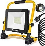 MASKO® LED Baustrahler 50W - Arbeitsleuchte - Arbeitsscheinwerfer 5m Netzkabel 6400K IP65 - Bauscheinwerfer inkl. Standgestell und Tragegriff Baulampe Flutlicht Strahler Baustellenlampe innen außen