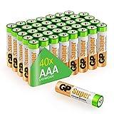 GP Batterien AAA 1,5V Super Alkaline Longlife Technologie, Vorratspack 40 Stück Micro AAA Batterien in praktischer 'Briefkasten-tauglicher' Versandverpackung