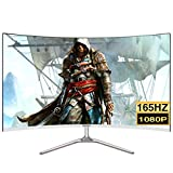 LYRONG 60.96 cm (24 Zoll) Curved Monitor, 1800R VA LED Monitor, Business Monitor (Full HD 1920x1080 IPS, 165Hz, Eye-Care, HDM/DP/USB, 1ms Reaktionszeit),White