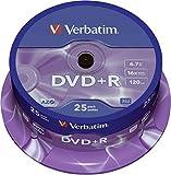 Verbatim DVD+R - 4.7 GB, 16-Brenngeschwindigkeit mit langer Lebensdauer und Kratzschutz, 25 Stück Spindel, mattsilber