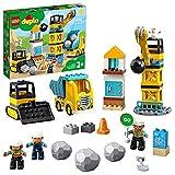 LEGO 10932 DUPLO Baustelle mit Abrissbirne, Bauset mit Spielzeuglastwagen, Kran und Radlader, Spielzeug für Kleinkinder ab 2 Jahren