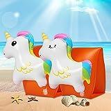 Schwimmflügel Kinder, Innoo Tech Schwimmhilfe für Kinder 3D Cartoon Einhorn Dual Airbags Aufblasbare Luftdichte Schwimmhilfe Schwimmen Baby unter 30KG