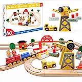 Tiny Land Delux Züge und Holzeisenbahn Pack - Holzschiene & Exklusiver Kran & Anhänger - Geschenkverpackte Spielzeugeisenbahn-Kits - passend für Thomas Chuggington