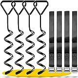SCHMITZ.Tools Bodenanker Trampolin Erdanker Trampolin Set - Extra sichere Premium Ausführung - Trampolin Anker - Trampolin Befestigung Boden - Erdhaken - Verstellbarer XXL-Gurt [2,50m] - Rostfrei
