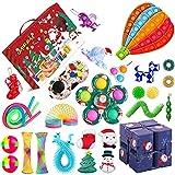 QASIMOF 2021 Fidget Adventskalender Spielzeug Mode Set 24 Tage Weihnachten Countdown Kalender sensorische Relief Spielzeug Tasche Überraschung Geschenkbox Weihnachten Party Geschenk (O Fidget Set)