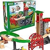 BRIO World 33887 Großes Lagerhaus-Set mit Aufzug – Zubehör für die BRIO Holzeisenbahn – Konstruktionsspielzeug empfohlen für Kinder ab 3 Jahren