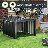 Juskys Metall Mähroboter Garage mit Satteldach - 86 × 98 × 63 cm - Sonnen- & Regenschutz für Rasenmäher – anthrazit - Rasenroboter Carport
