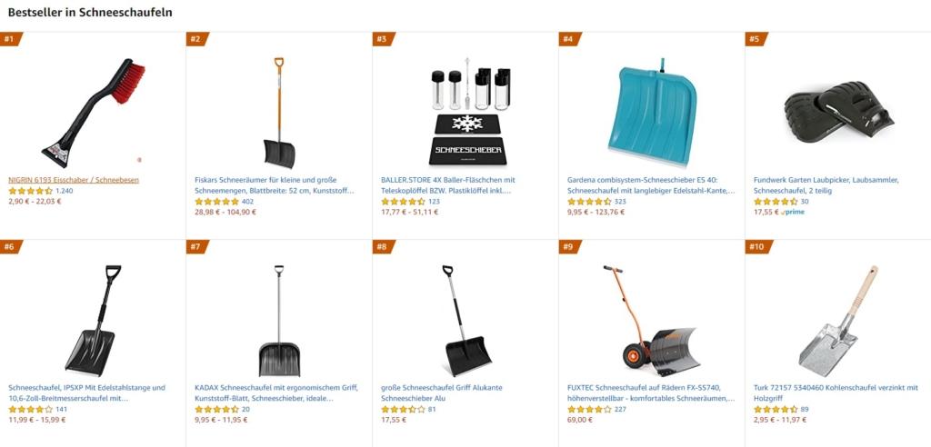 Meistgekaufte Schneeschieber und Schneeschaufeln auf Amazon im Oktober 2020
