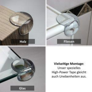 maliveo Premium Eckenschutz Montage an verschiedenen Materialien