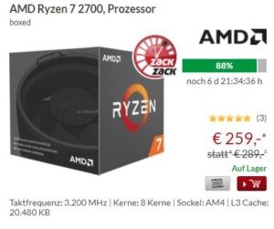 AMD Ryzen 7 2700 mit 30 Euro Rabatt