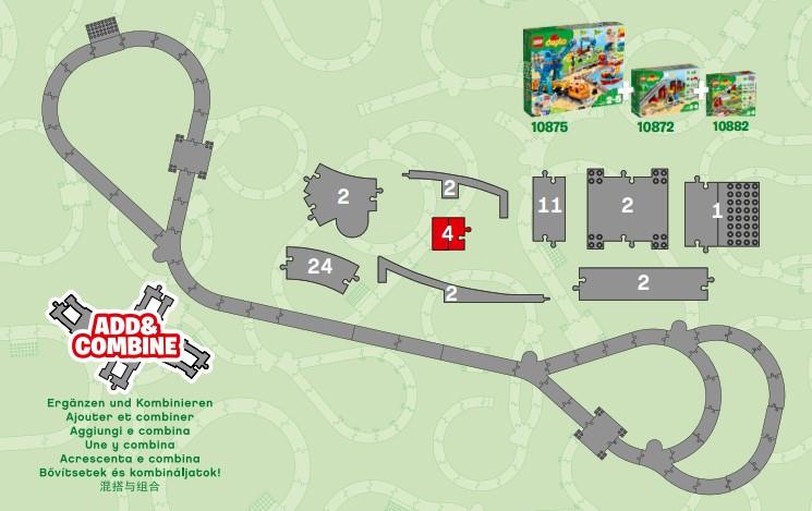 Streckenvorschlag für Kombination von Lego 10872, 10882 und 10875