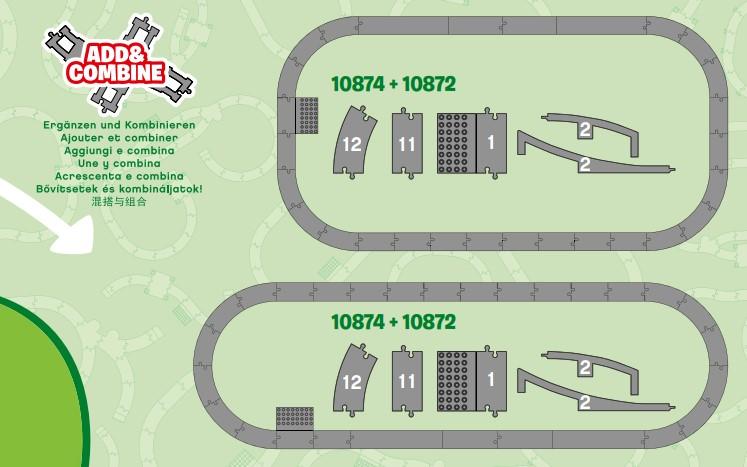 2 Streckenvorschläge bei Kombination von Lego 10872 und Lego 10874 Duplo Eisenbahnsets
