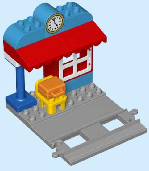 Lego 10874 - der Bahnhof ist mit den Schienen verbunden