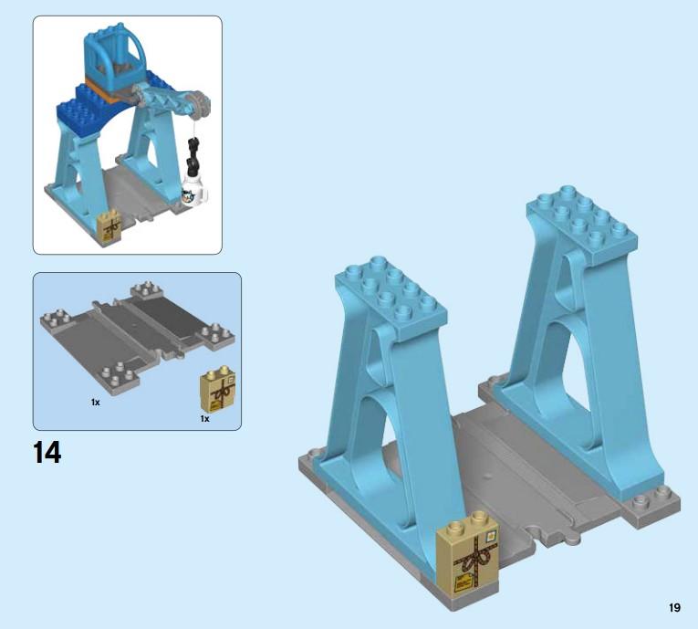 Lego 10875 - der Kran kann mit speziellen Schienenbausteinen nicht mehr verschoben werden