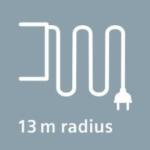 13 Meter Aktionsradius Bodenstaubsauger