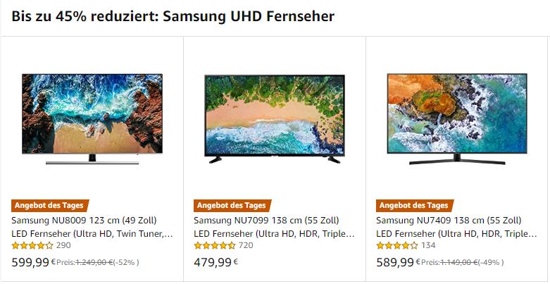 Samsung NU8009 NU7099 NU7409 im Vergleich