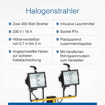 as - Schwabe Baustrahler Halogen 2x400 Watt mit Stativ