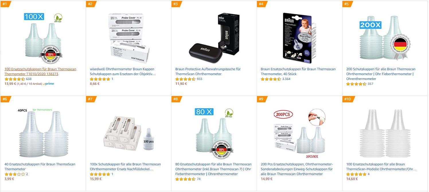 Schutzkappen Thermoscan sind die Bestseller auf Amazon