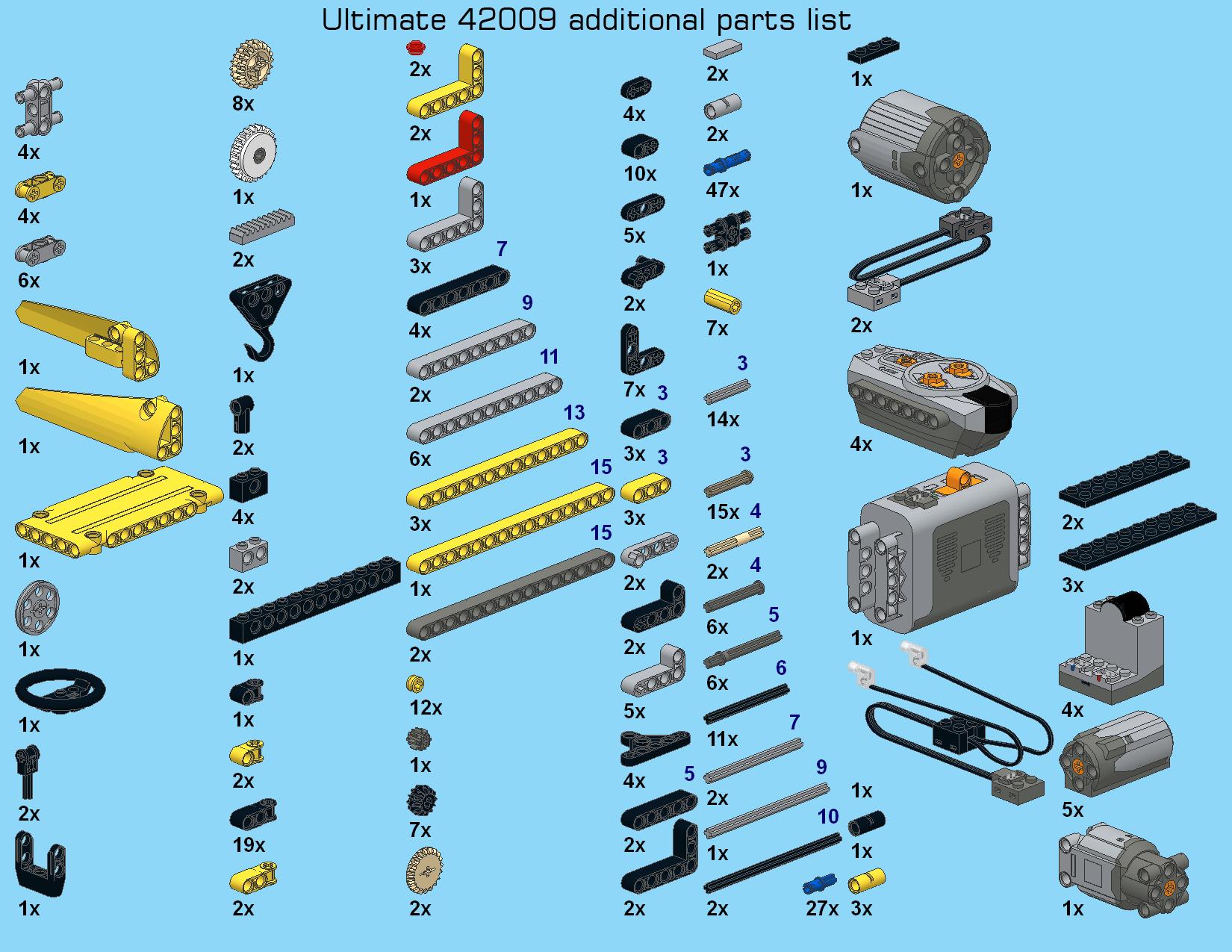 Extra Lego Steine für das Lego 42009 Ultimate Modell