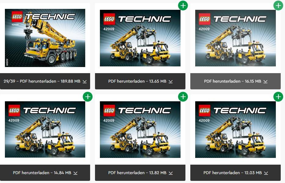 Alle LEGO 42009 Bauanleitungen zum Download
