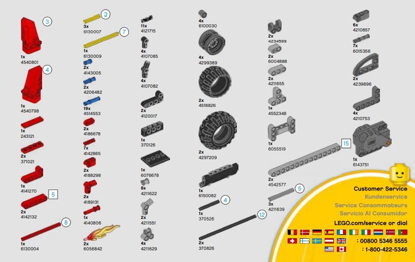 Lego 42073 - die Liste der Technic Bausteine im Bausatz